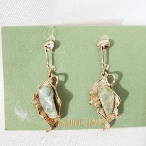 Vintage Genuine Jade gold tone earrings